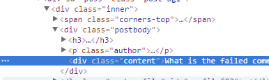 Inspecting an HTML element in Google Chrome